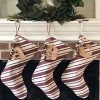 Jubilee Creative Studio 18 Dark Red Stripe Rustic Christmas Stocking With Personalized Letter Charm And Rustic Bells 0 100x100