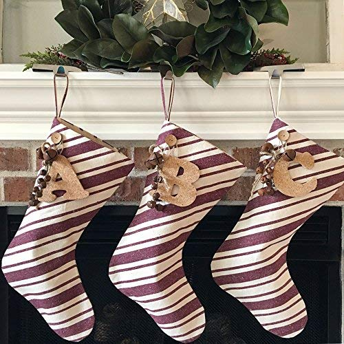 Jubilee Creative Studio 18 Dark Red Stripe Rustic Christmas Stocking With Personalized Letter Charm And Rustic Bells 0