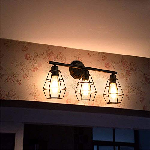 KOONTING 3 Light Industrial Bathroom Vanity Light Metal Wire Cage Wall Sconce Vintage Edison Wall Lamp Light Fixture For Bathroom Dressing Table Mirror Cabinets Vanity Table 0 0