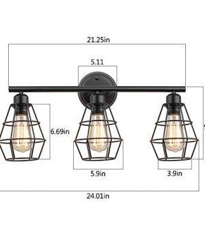 KOONTING 3 Light Industrial Bathroom Vanity Light Metal Wire Cage Wall Sconce Vintage Edison Wall Lamp Light Fixture For Bathroom Dressing Table Mirror Cabinets Vanity Table 0 2 300x360