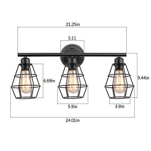 KOONTING 3 Light Industrial Bathroom Vanity Light Metal Wire Cage Wall Sconce Vintage Edison Wall Lamp Light Fixture For Bathroom Dressing Table Mirror Cabinets Vanity Table 0 2