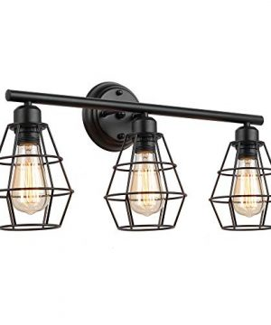 KOONTING 3 Light Industrial Bathroom Vanity Light Metal Wire Cage Wall Sconce Vintage Edison Wall Lamp Light Fixture For Bathroom Dressing Table Mirror Cabinets Vanity Table 0 300x360