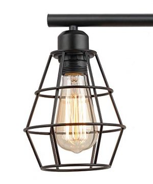 KOONTING 3 Light Industrial Bathroom Vanity Light Metal Wire Cage Wall Sconce Vintage Edison Wall Lamp Light Fixture For Bathroom Dressing Table Mirror Cabinets Vanity Table 0 4 300x360