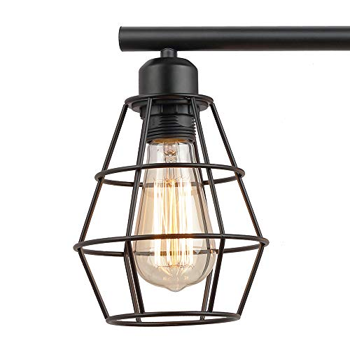 KOONTING 3 Light Industrial Bathroom Vanity Light Metal Wire Cage Wall Sconce Vintage Edison Wall Lamp Light Fixture For Bathroom Dressing Table Mirror Cabinets Vanity Table 0 4