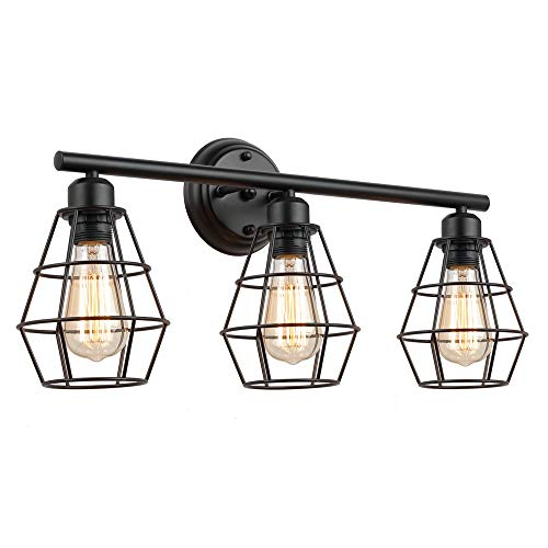 KOONTING 3 Light Industrial Bathroom Vanity Light Metal Wire Cage Wall Sconce Vintage Edison Wall Lamp Light Fixture For Bathroom Dressing Table Mirror Cabinets Vanity Table 0