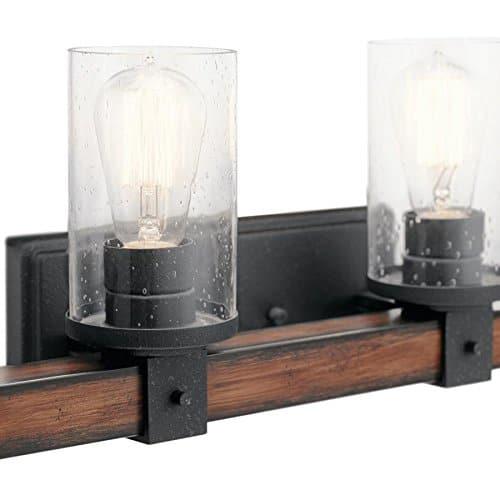 Kichler 4 Light Barrington 9 In Distressed Black And Wood Cylinder Vanity Light 0 0
