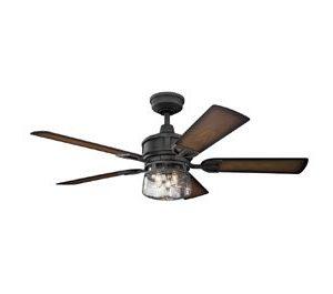 Kichler Lighting 310139DBK Lyndon Patio 52 Ceiling Fan With Light Kit Walnut Blade Finish 52 Inch Distressed Black 0 0 300x265