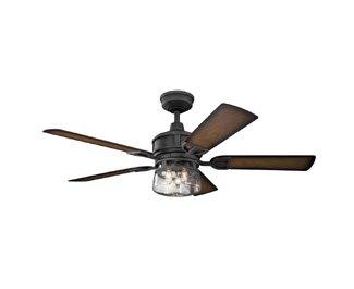 Kichler Lighting 310139DBK Lyndon Patio 52 Ceiling Fan With Light Kit Walnut Blade Finish 52 Inch Distressed Black 0 0