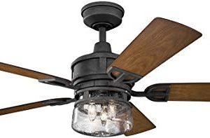 Kichler Lighting 310139DBK Lyndon Patio 52 Ceiling Fan With Light Kit Walnut Blade Finish 52 Inch Distressed Black 0 300x197