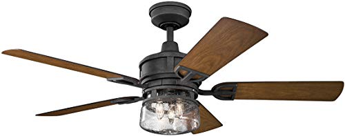 Kichler Lighting 310139DBK Lyndon Patio 52 Ceiling Fan With Light Kit Walnut Blade Finish 52 Inch Distressed Black 0