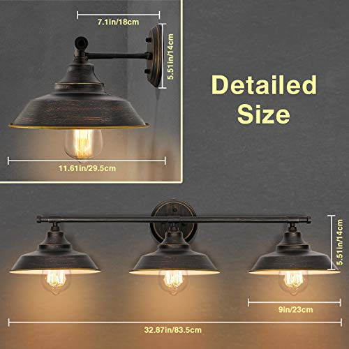 KingSo Bathroom Vanity Light 3 Light Wall Sconce Fixture Industrial Indoor Wall Mount Lamp Shade For Bathroom Kitchen Living Room Workshop Cafe 0 0