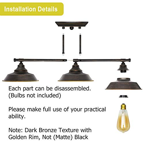 KingSo Bathroom Vanity Light 3 Light Wall Sconce Fixture Industrial Indoor Wall Mount Lamp Shade For Bathroom Kitchen Living Room Workshop Cafe 0 5