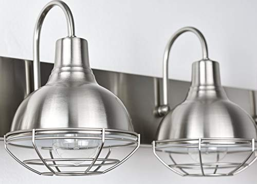 Kira Home Liberty 24 3 Light Modern Industrial VanityBathroom Light Brushed Nickel Finish 0 2