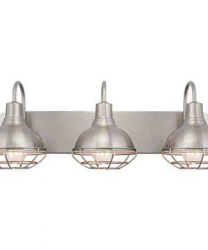Kira Home Liberty 24 3 Light Modern Industrial VanityBathroom Light Brushed Nickel Finish 0 300x360