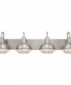 Kira Home Liberty 36 4 Light Modern Industrial VanityBathroom Light Brushed Nickel Finish 0 300x360