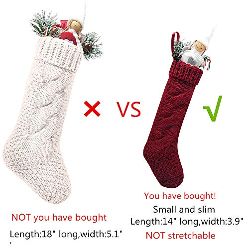 Kunyida Pack 4 Unique Burgundy And Ivory White Knit Christmas Stockings 14 0 0