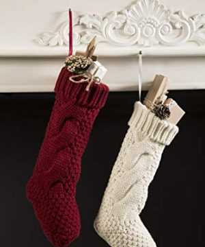Kunyida Pack 4 Unique Burgundy And Ivory White Knit Christmas Stockings 14 0 2 300x360