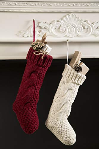 Kunyida Pack 4 Unique Burgundy And Ivory White Knit Christmas Stockings 14 0 2