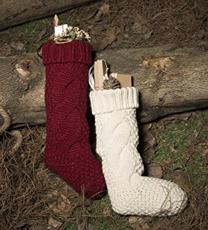 Kunyida Pack 4 Unique Burgundy And Ivory White Knit Christmas Stockings 14 0 3 300x333