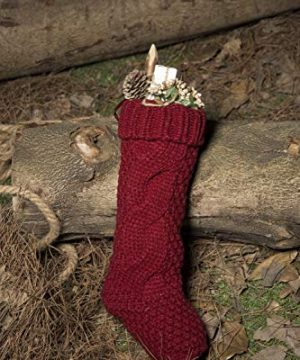 Kunyida Pack 4 Unique Burgundy And Ivory White Knit Christmas Stockings 14 0 5 300x360