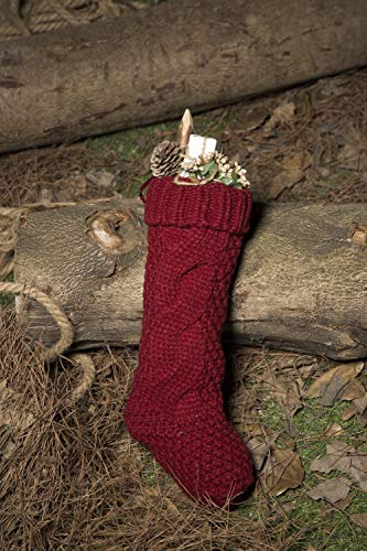 Kunyida Pack 4 Unique Burgundy And Ivory White Knit Christmas Stockings 14 0 5