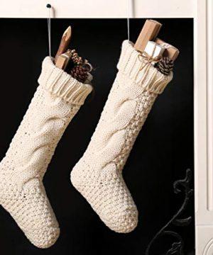 Kunyida Pack 418 Unique Ivory White Knit Christmas Stockings 0 0 300x360