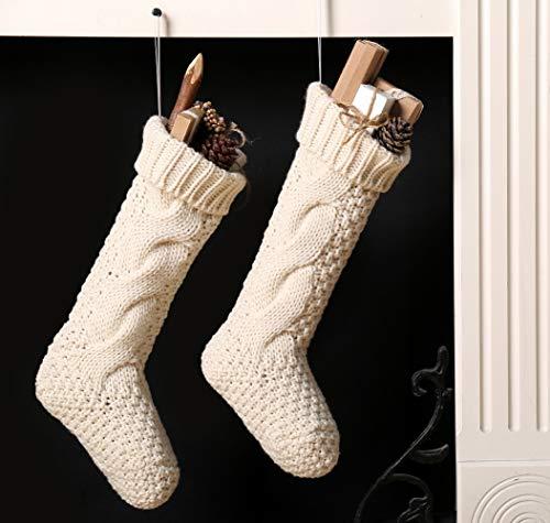 Kunyida Pack 418 Unique Ivory White Knit Christmas Stockings 0 0