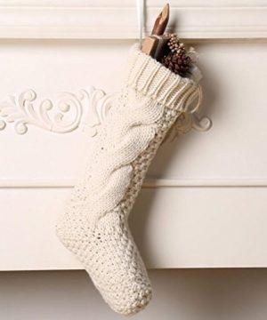 Kunyida Pack 418 Unique Ivory White Knit Christmas Stockings 0 1 300x360