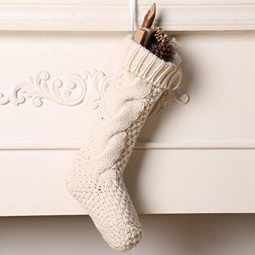 Kunyida Pack 418 Unique Ivory White Knit Christmas Stockings 0 1