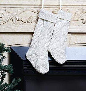 Kunyida Pack 418 Unique Ivory White Knit Christmas Stockings 0 4 300x320