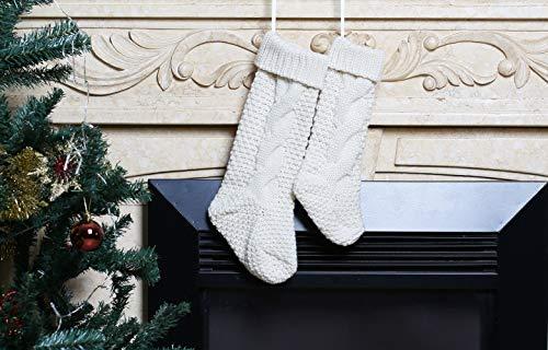 Kunyida Pack 418 Unique Ivory White Knit Christmas Stockings 0 4