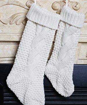 Kunyida Pack 418 Unique Ivory White Knit Christmas Stockings 0 5 300x360
