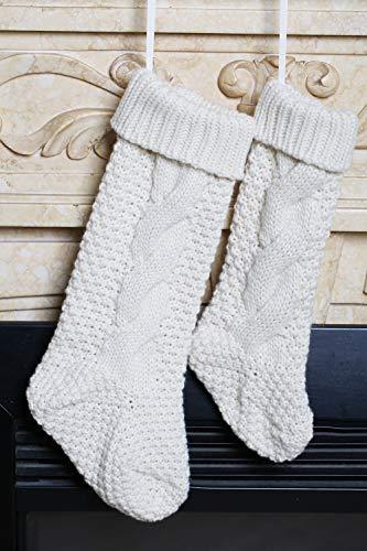 Kunyida Pack 418 Unique Ivory White Knit Christmas Stockings 0 5
