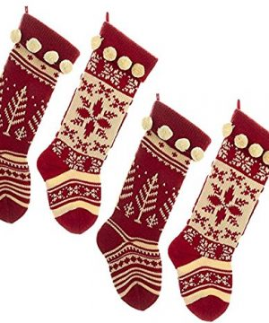 Kurt Adler Red And White Knit Stocking Set Of 4 0 300x360