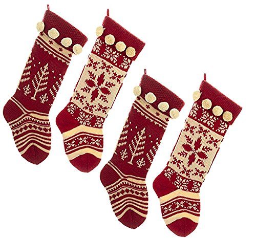 Kurt Adler Red And White Knit Stocking Set Of 4 0