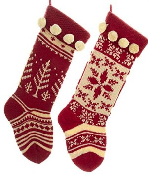 Kurt Adler Red And Cream Knit Stockings 2 Assorted 0 300x360