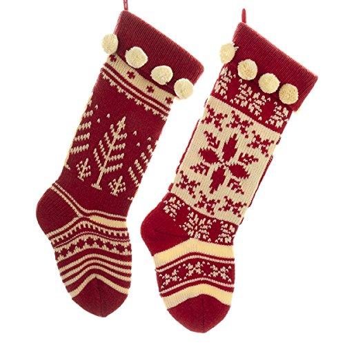 Kurt Adler Red And Cream Knit Stockings 2 Assorted 0