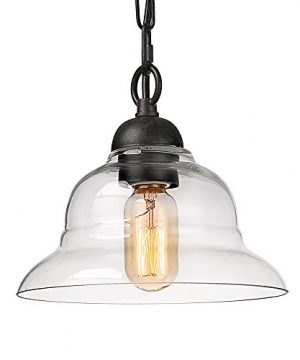 LALUZ 1 Light Pendant Lighting With Glass Shade 0 300x360