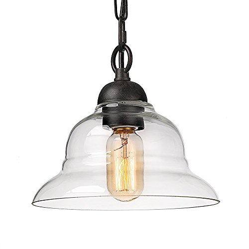 LALUZ 1 Light Pendant Lighting With Glass Shade 0