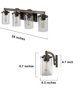 LALUZ 4 Light Rustic Vanity Lighting Bathroom Wall Light With Clear Glass Faux Wood 30 Inches 0 0 300x360