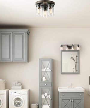 LALUZ 4 Light Rustic Vanity Lighting Bathroom Wall Light With Clear Glass Faux Wood 30 Inches 0 1 300x360
