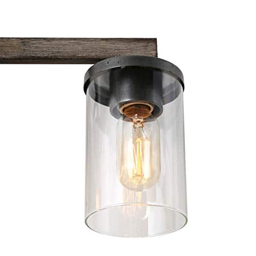 LALUZ 4 Light Rustic Vanity Lighting Bathroom Wall Light With Clear Glass Faux Wood 30 Inches 0 3