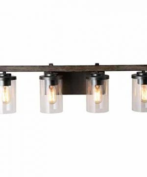 LALUZ 4 Light Rustic Vanity Lighting Bathroom Wall Light With Clear Glass Faux Wood 30 Inches 0 300x360