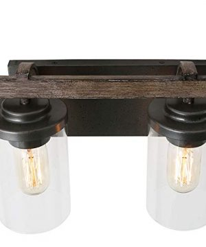 LALUZ 4 Light Rustic Vanity Lighting Bathroom Wall Light With Clear Glass Faux Wood 30 Inches 0 4 300x360