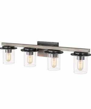 LALUZ 4 Lights Faux Wood And Distressed Black Finishes Bathroom Vanity Fixture With Clear Glass 331 Inches 0 300x360