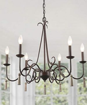 LALUZ Rustic French Country Chandelier 6 Lights 264 Farmhouse Chandelier With Wood Droplets 0 300x360