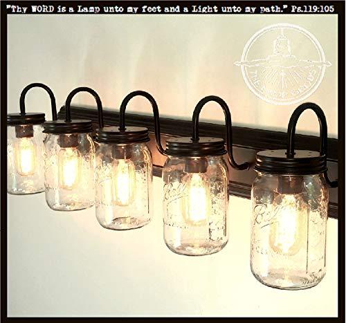 LAMP Goods Mason JAR Bathroom Vanity 5 Light Wide Mouth Jars 0 0