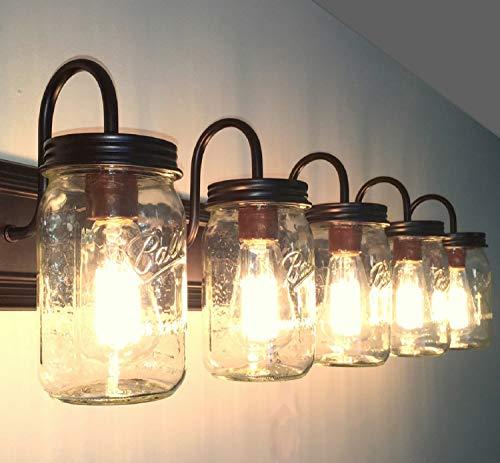 LAMP Goods Mason JAR Bathroom Vanity 5 Light Wide Mouth Jars 0 1