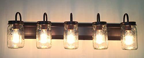 LAMP Goods Mason JAR Bathroom Vanity 5 Light Wide Mouth Jars 0 2