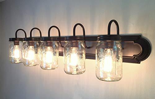 LAMP Goods Mason JAR Bathroom Vanity 5 Light Wide Mouth Jars 0 5